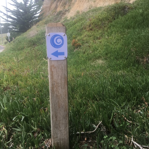 Arrows mark the California Coastal Trail
